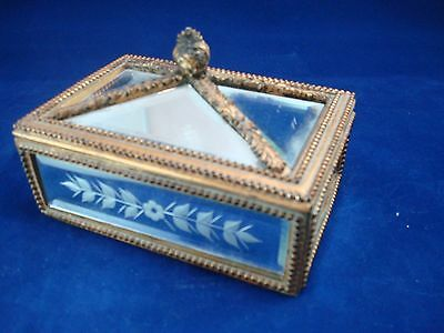 Vintage Mirror and Brocade Jewelry Box