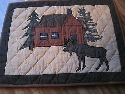 Choices MOOSE CABIN Quilted Primitive Placemat Set/4 Tablemats NEW CABIN - $51.99