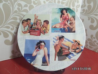 Coca-Cola Dinner Plates (Set of 4) Retro Nostalgic Beach Girl Swimsuit Scene-NEW