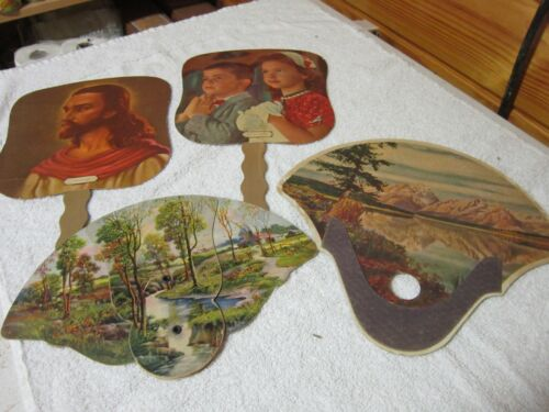 ANTIQUE CARDBOARD FUNERAL HOME HAND FANS