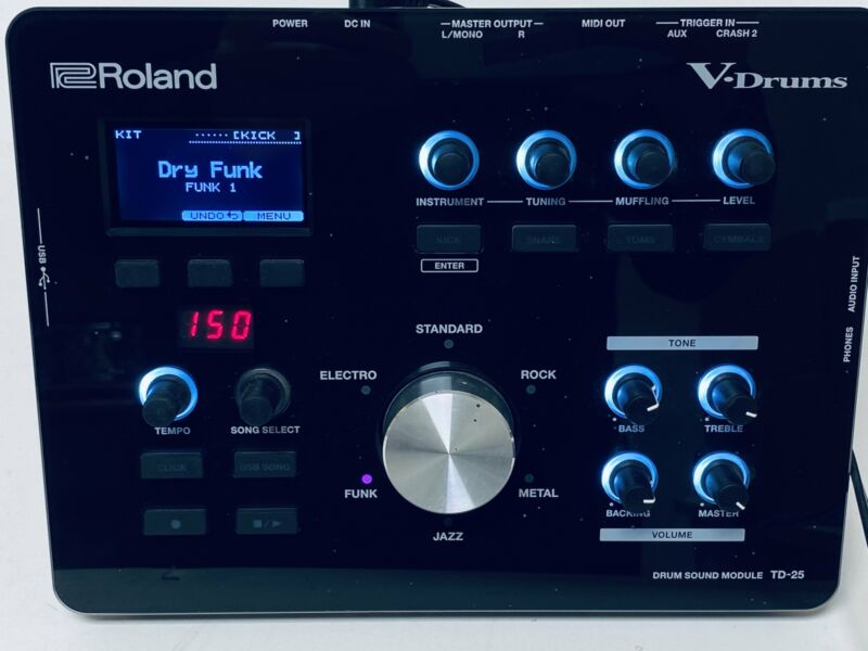 Roland TD-25 Module With Trigger Cables and PSB-1U Power TD25