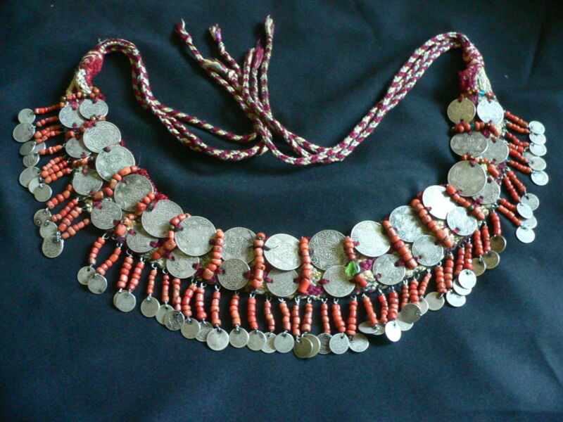 MOROCCAN BERBER CORAL AND SILVER HEADDRESS