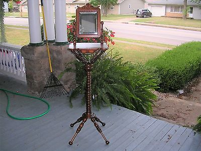 antique hunzinger cherry standing shaving  stand, drawer, and beveled mirror