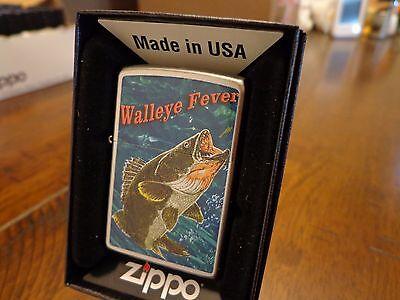 WALLEYE FISHING FEVER SATIN CHROME FINISH ZIPPO LIGHTER MINT IN BOX