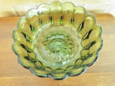 EUC VINTAGE FAIRFIELD Lg. GREEN GLASS COMPOTE BOWL ANCHOR HOCKING CENTERPIECE Anchor Hocking Green Glassware