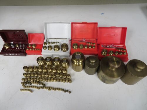 Brass Scale Calibration Weights some with cases, loose - NB28