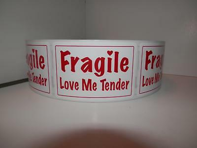 Fragile Love Me Tender 2x3 Red Text White Bkgd Warning Sticker Label 250rl
