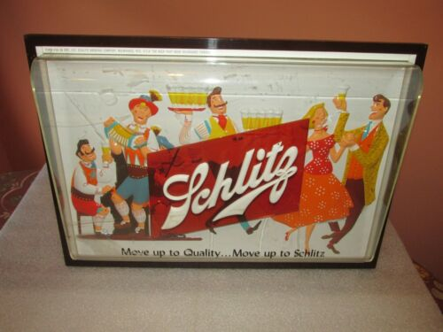 SCHLITZ Beer SIGN 3D RARE Move up to Quality Move up to Schlitz RARE SO COOL