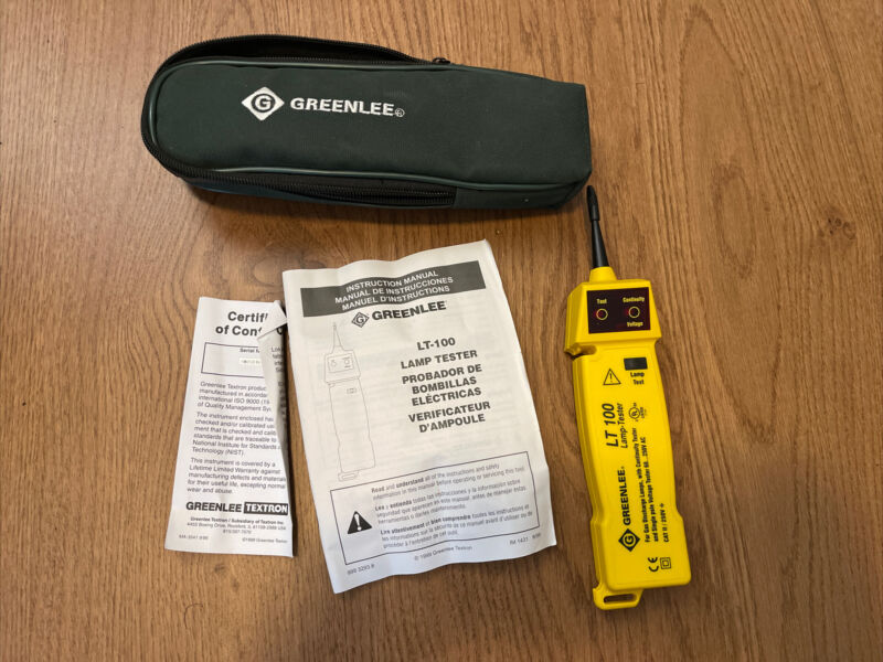 Greenlee LT-100 Lamp Tester with Manual & Case 🔥🔥