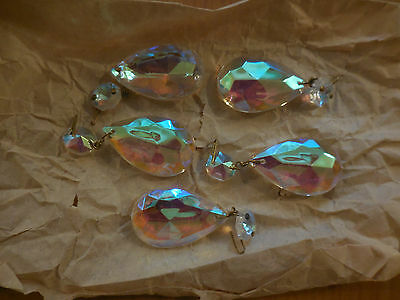 Five Clear Crystal French chandelier parts Prisms