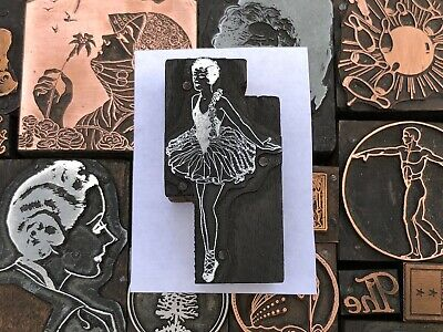 Antique Vtg Ballet Ballerina Dancer Letterpress Print Type Cut Ornament Block