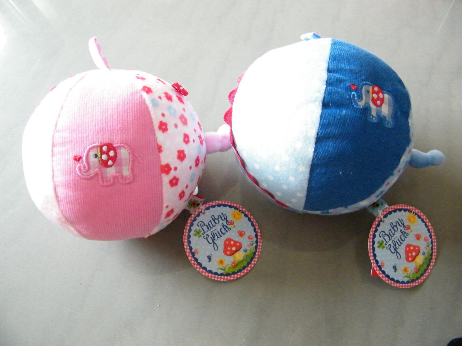 NEU Stoffball mit Glockenspiel Ball rosa oder hellblau Baby Glück Spiegelburg