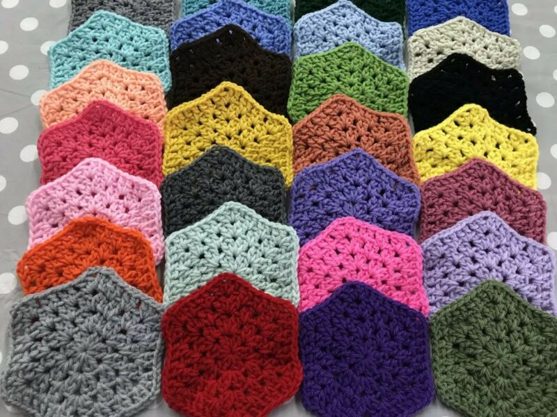 "~Lot 28 5"" ASSORTED COLORS Crochet HEXAGON Granny Squares Throw Blanket Afghan"