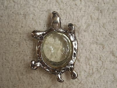 "Vintage Silver Tone Metal and Glass Turtle Pendant - 1"" Wide - 1 1/2"" Long"