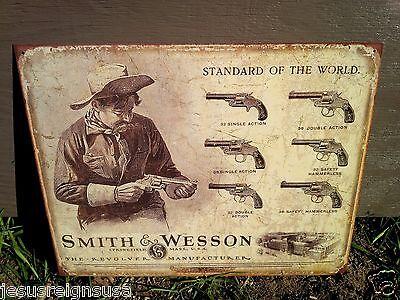 SMITH WESSON REVOLVER MANUFACTURER Rifle Gun Tin Metal Sign Wall Garage Classic
