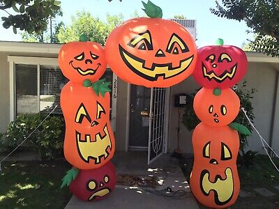 Large 6'x8' Halloween Inflatable Pumpkin Arch Way Lights Up