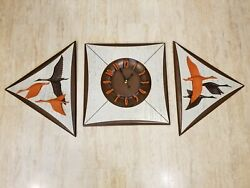 Retro Burwood Product Mid Century Diamond Sunburst Wall Clock Geese Side Plaques