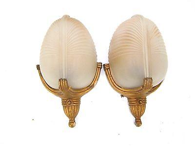 2 (1 Pair) Vintage Antique Art Deco Slip Shade Wall Sconce Lights