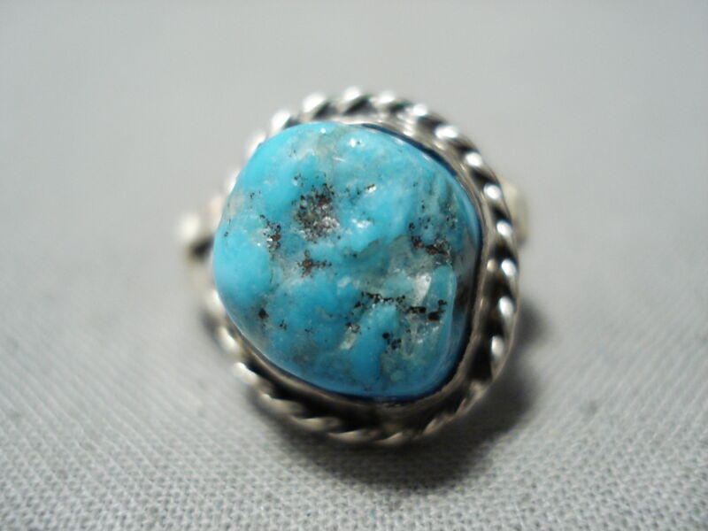 AUTHENTIC VINTAGE NAVAJO SLEEPING TURQUOISE STERLING SILVER RING OLD