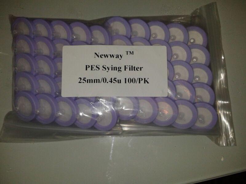PES Syringe Filter 25mm/0.45u, 100/PK, HPLC, LY-1010