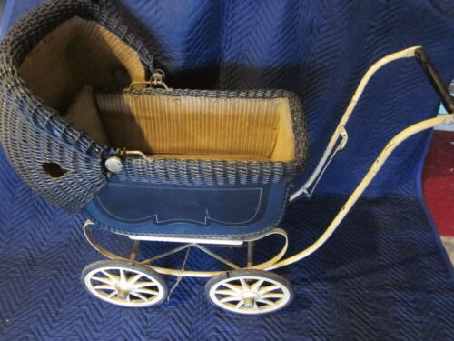 Wicker Doll Baby Carriage Buggy Stroller Pram Victorian Canopy ~ VINTAGE ANTIQUE