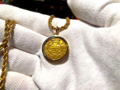 "Spain 1 Escudo 1607 ""2 Year Type"" Pendant Pirate Gold Coins Treasure Jewelry Cob"