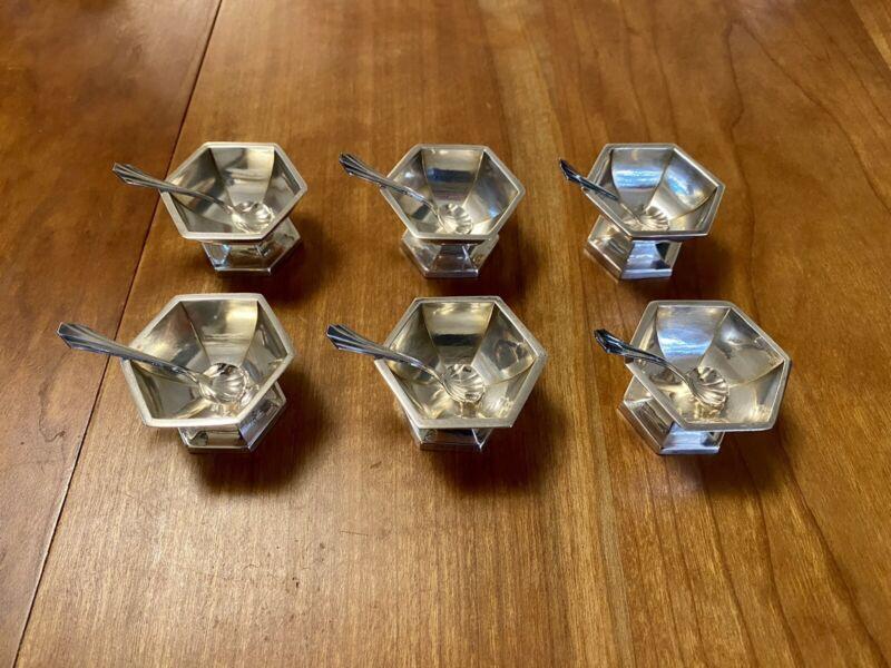 SET of 6 Vintage STERLING SILVER WEBSTER Open Salt Cellars Bowls Dishes w Spoons