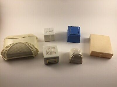 1940s Jewelry Styles and History 6 Piece Lot Vintage 1940's 1950's Celluloid Plastic Wedding Engagement Ring Box $75.00 AT vintagedancer.com