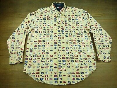 All World Flags (Tommy Hilfiger World Flags All Over Print Mens Size Large Long Sleeve)