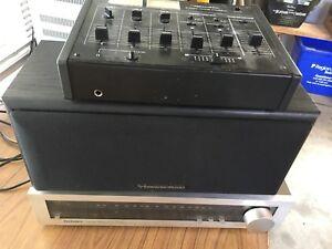 Sound system stuff amplifier speaker mixing board