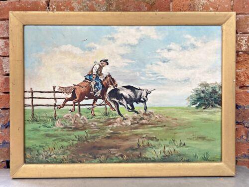 vtg WESTERN americana PAINTING cowboy art M.L. ROCCO oil on canvas HORSE bull