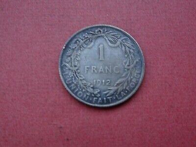 1912 1 Frank Fr Belgique Belgïe Albert  Argent Silver