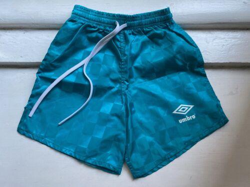 Boys / Girls Vintage Umbro Shorts soccer, swim, Turquoise, Youth S