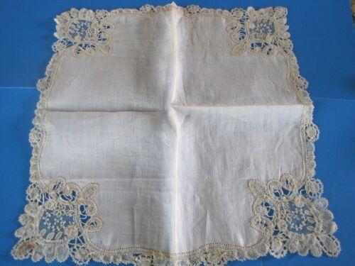 Wedding Handkerchief Bobbin Lace Antique