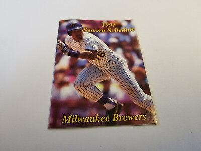 Milwaukee Brewers 1993 MLB Baseball Pocket Schedule - Miller Sharp's