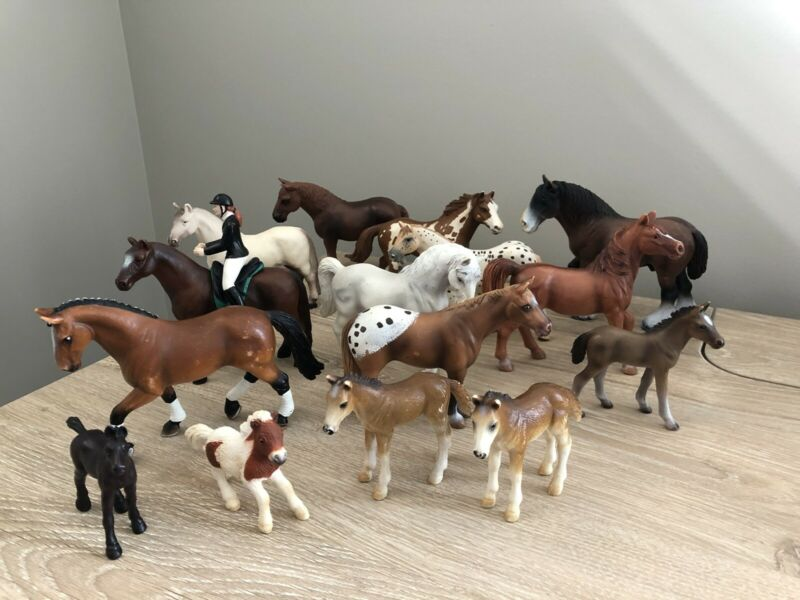 Schleich Germany Horse Lot 15 Total - 9 Large 5 Small 1 Papo Rider 1992 - 2006