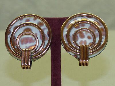 Vintage Signed Matisse Copper & Enamel Round Circle Clip Earrings Modernist MCM