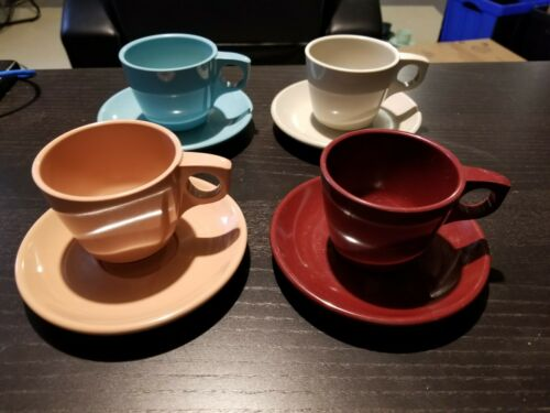 4 Boonton Melmac Melamine  Coffee Tea Cups 201-8 w/ Saucers 202-8