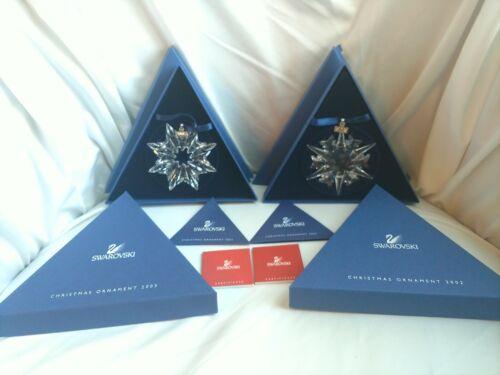 New 2002 & 2003 Swarovski Large Snowflake Annual Christmas Ornaments Lot