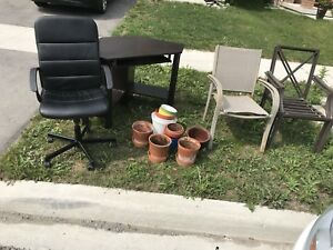 Free - outdoor chairs, corner table, office chairs, pots