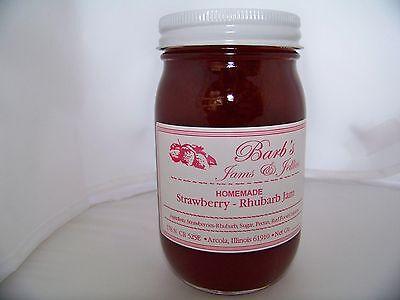Jams & Jellies Strawberry Rhubarb Jam Spreads Home Made - Amish Country 16 oz