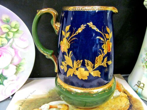 antique English Earthen ware Pitcher gold gilt raised pattern painted England