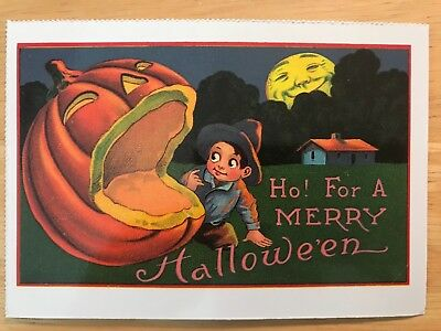 POSTCARD UNUSED HALLOWEEN -HO! FOR A MERRY HALLOWE'EN (EARLY 20th CENTURY REPRO) - Early Century Halloween