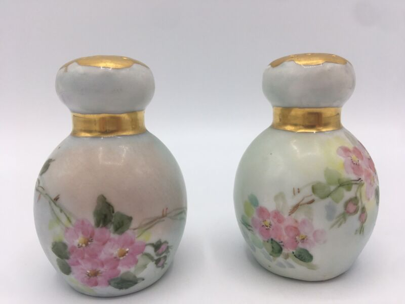 """Stunning~ Hand Painted Porcelain~ Salt and Pepper Shakers ~Floral Gold Trim 3"""""""