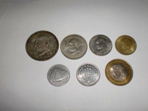 -REPUBLIC OF INDIA- 7  RARE  COINS OF MAHATMA GANDHI -ONE BIG SILVER COIN-RS.10