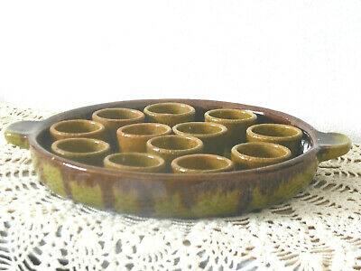 RARE antique handmade French SNAIL DISH (12 little bowls)  Glazed stoneware Snail Dish