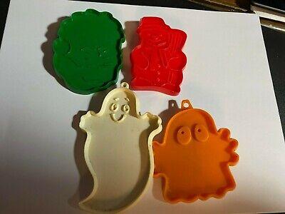 Vintage lot of 4 Plastic Cookie Cutters (Santa & Snowman)(2 Halloween Ghosts)