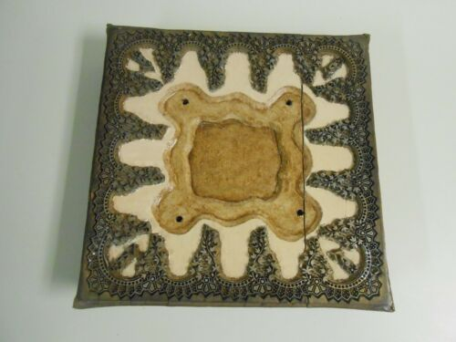 "Antique Wood Metal Fabric Wallpaper Mosaic Printing Block France 11"" x 11"""