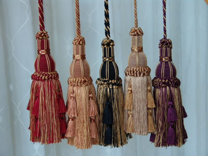 """SET of TWO Beautiful Quality 8"""" Key Tassels - Home Decor ~ CHOICE of COLORS"""