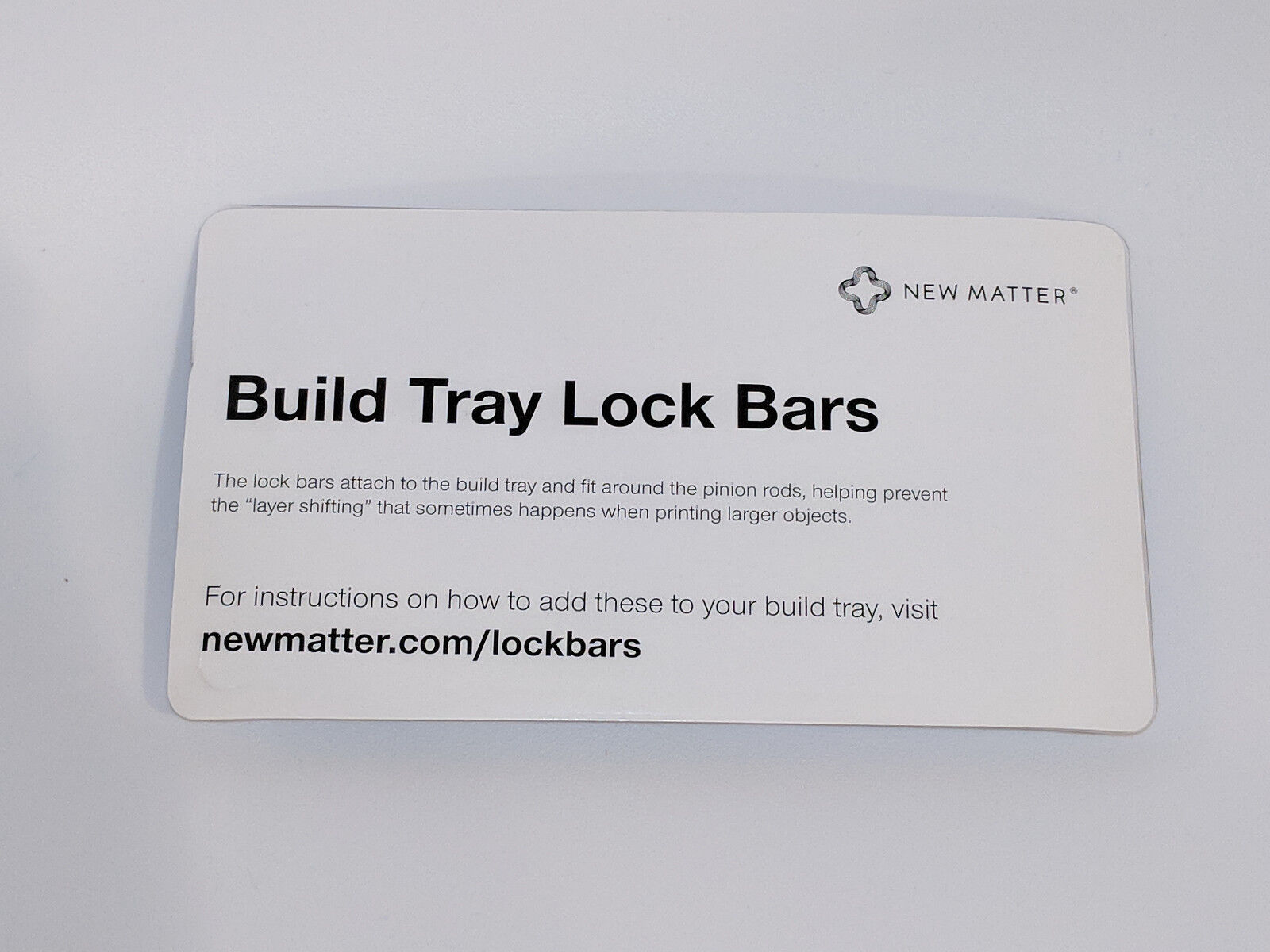 Build Tray Lock Bars for New Matter MOD-t 3D Printer, New in